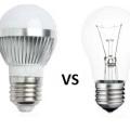лампа накаливания и светодиодная